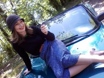 In a photoshoot as Nancy Drew.